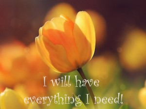 I will have everything I need